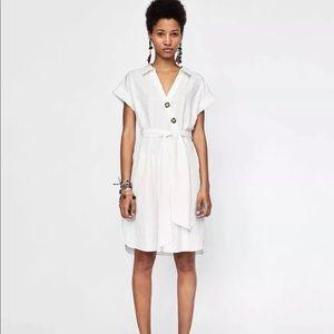 Zara Ivory Textured Weave Button Midi Dress XS